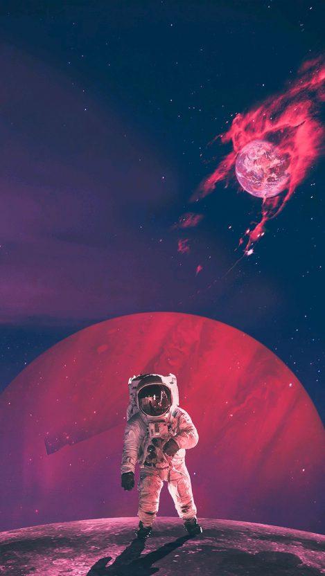 Astronaut Artwork Burning Earth iPhone Wallpaper iphoneswallpapers com
