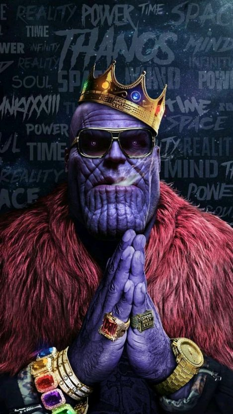 Avengers Thanos Hip hop Crown Gold Chains Rings Infinity Stones iPhone Wallpaper iphoneswallpapers com