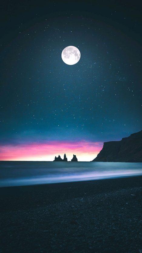 Beach Moon Horizon Low Tides iPhone Wallpaper iphoneswallpapers com