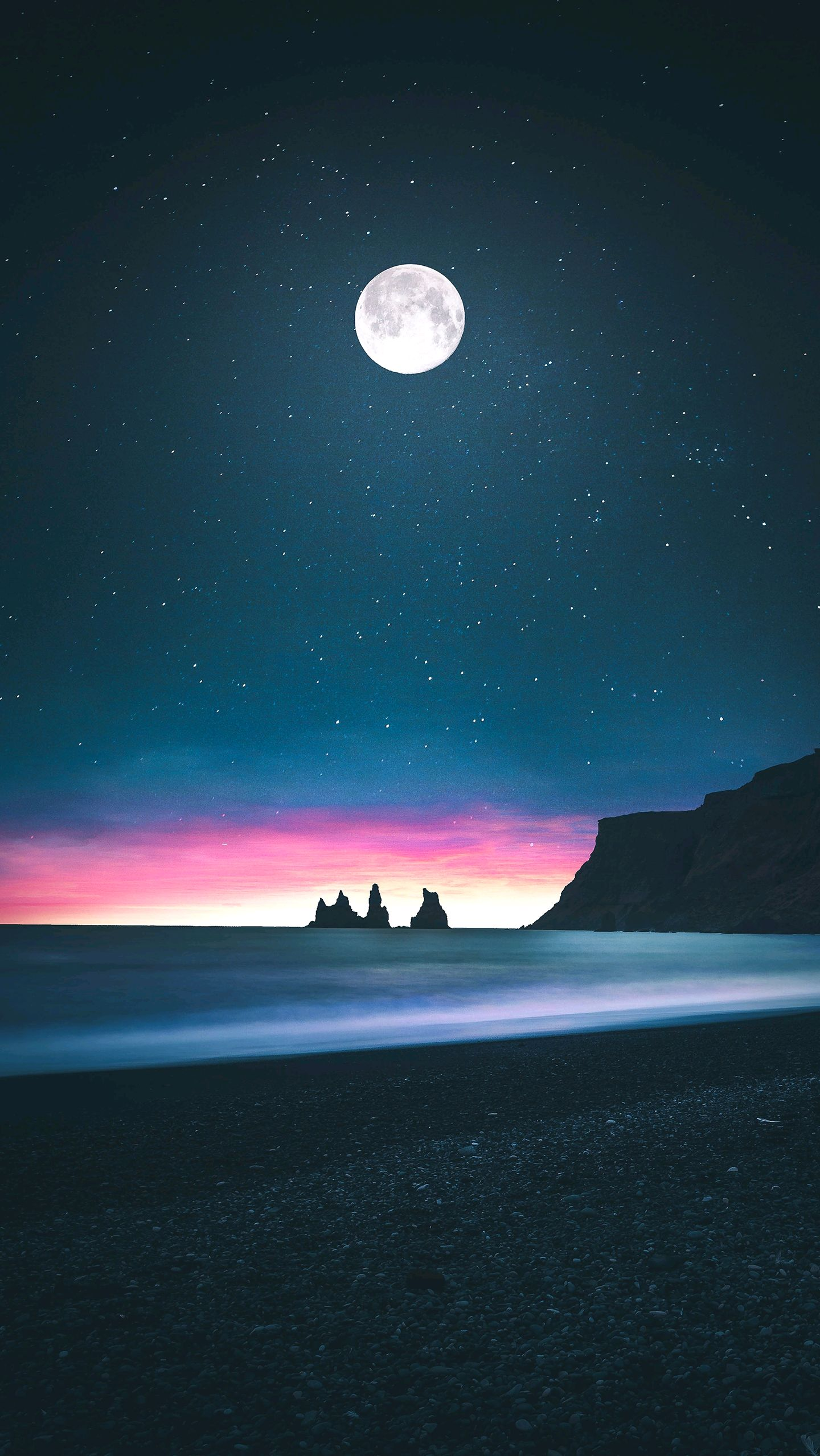 Beach Moon Horizon Low Tides Iphone Wallpaper Iphone