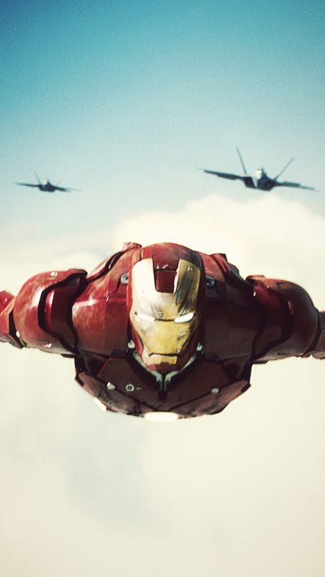 Iron Man with F 22 Raptor iPhone Wallpaper iphoneswallpapers com