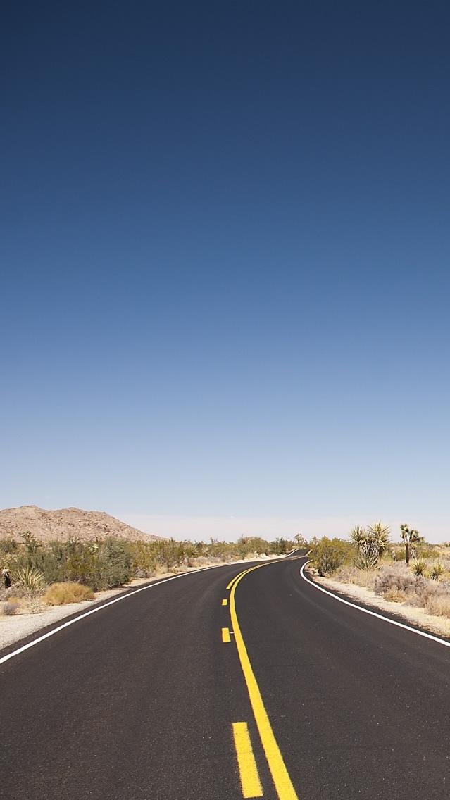 Joshua Tree Desert Road iPhone Wallpaper iphoneswallpapers com