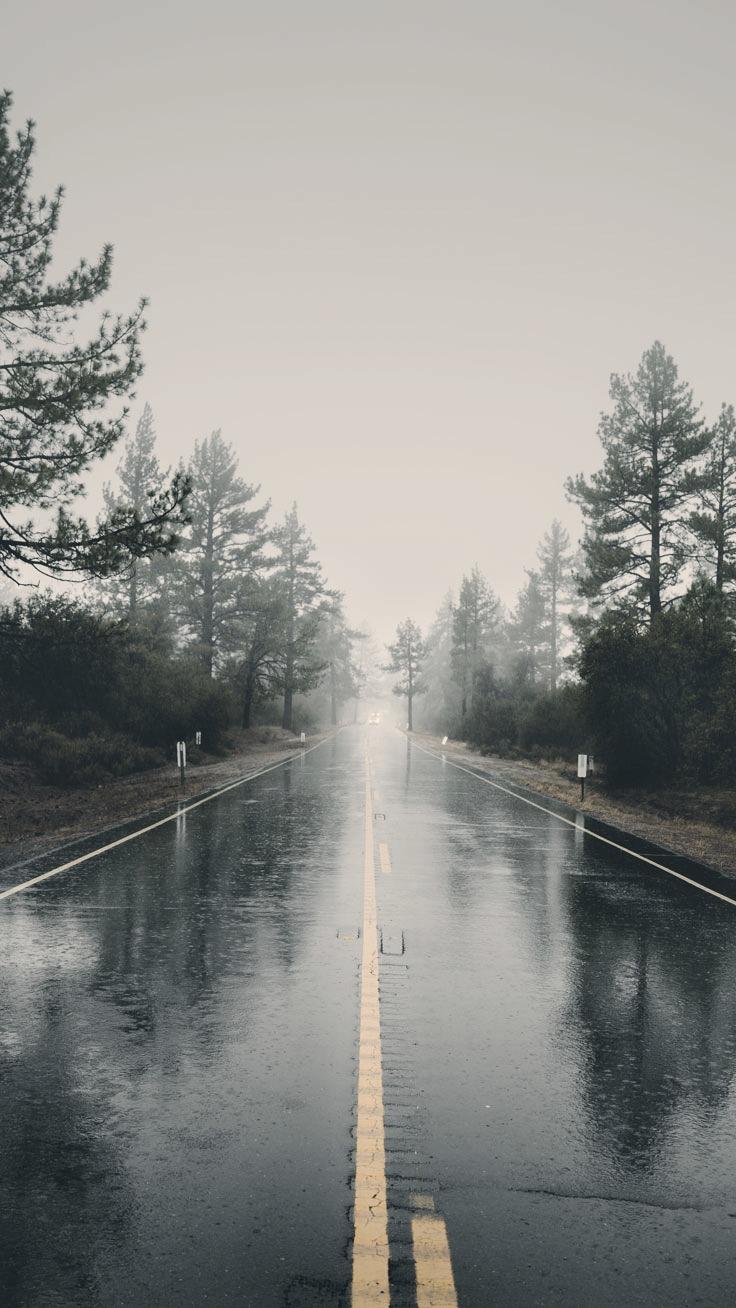 Rainy Road iPhone Wallpaper iphoneswallpapers com