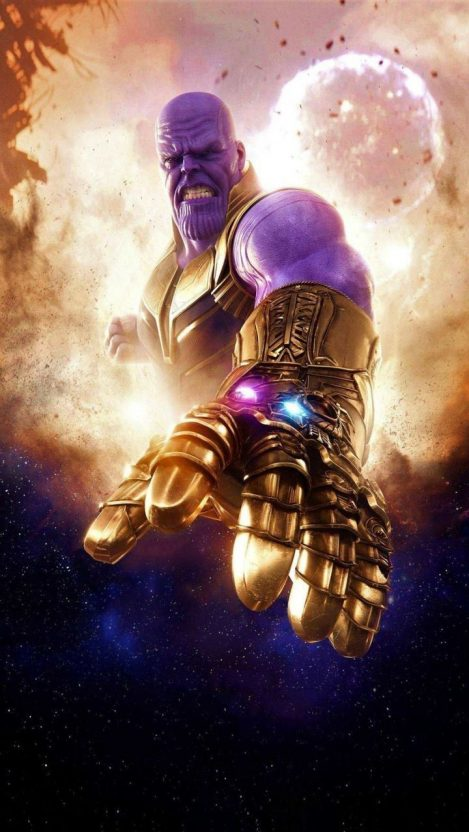 Thanos with The Infinity Gauntlet iPhone Wallpaper iphoneswallpapers com