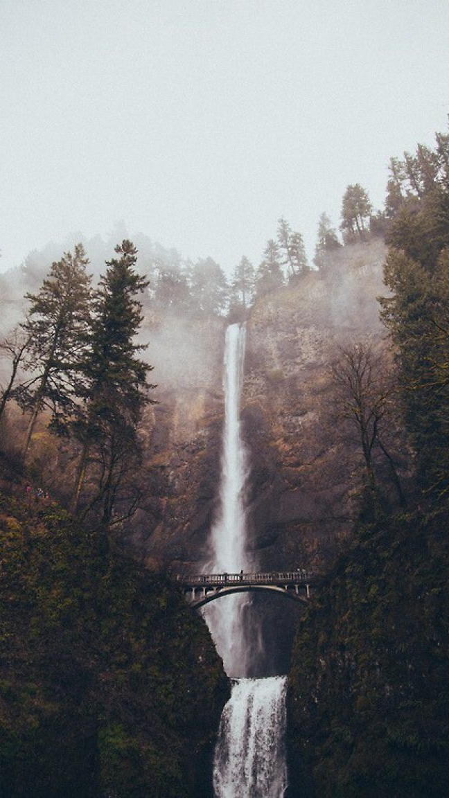 Amazing Beautiful Waterfall Mist Forest iPhone Wallpaper iphoneswallpapers com