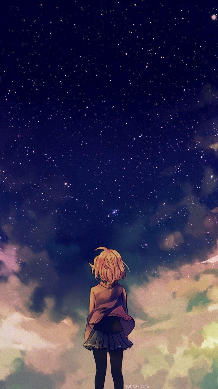 Anime Girl Under Sky Beautiful Stars Iphone Wallpaper