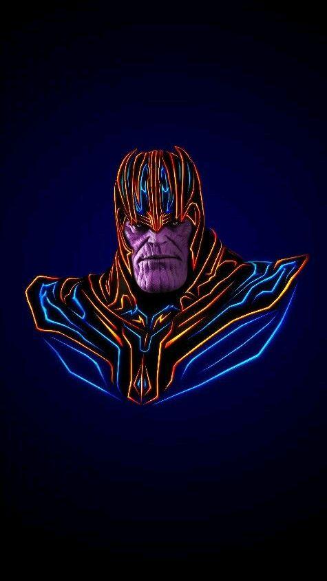 Avengers Neon Thanos iPhone Wallpaper iphoneswallpapers com