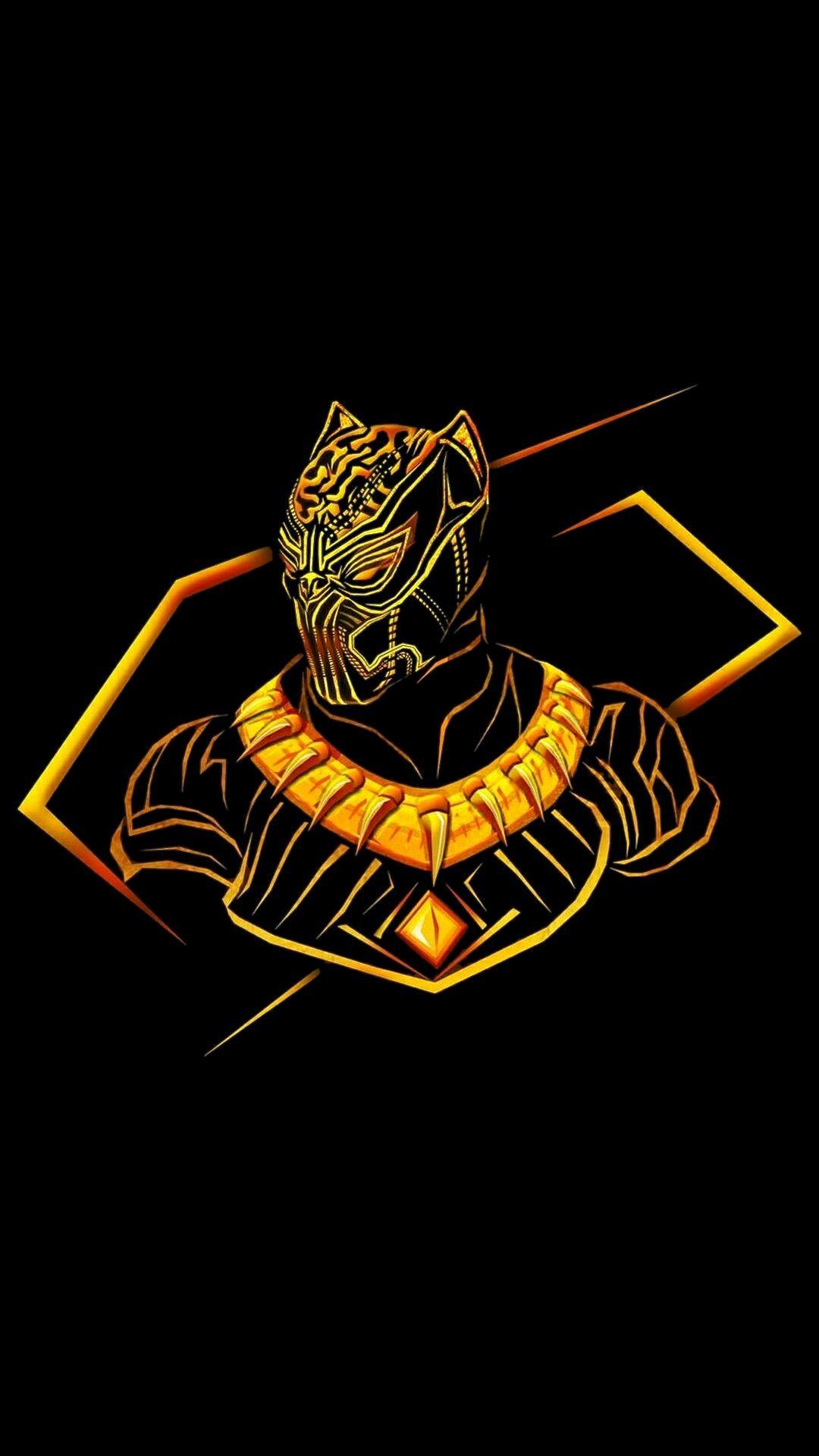 Black Panther Neon Glow Avengers Iphone Wallpaper