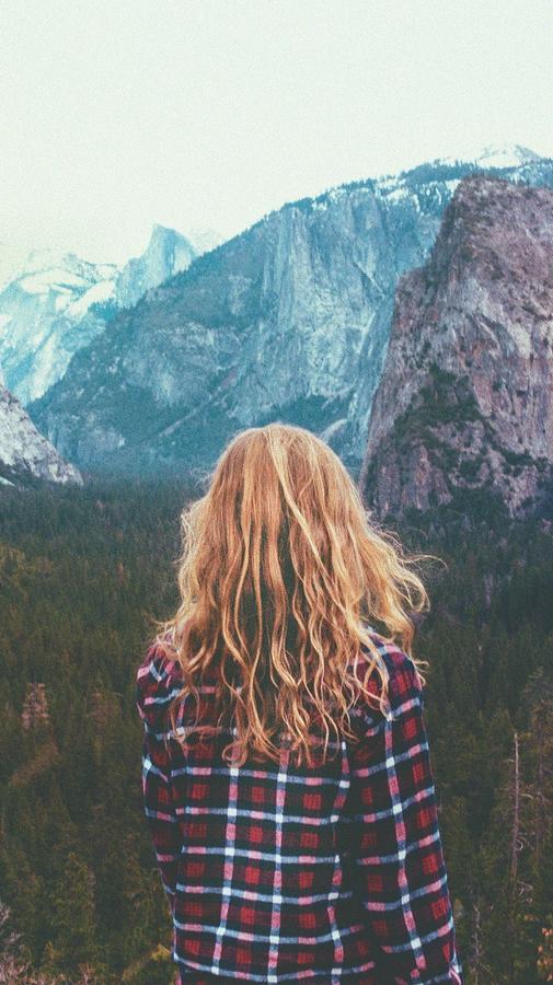 Girl in National Park Nature iPhone Wallpaper iphoneswallpapers com