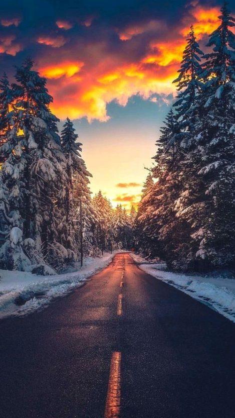 Ice Road Clouds Sunset Alaska IPhone Wallpaper