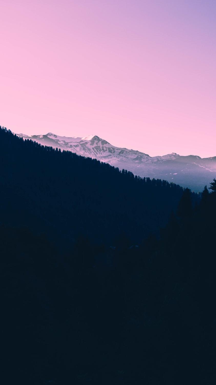 Minimal Forest Mountans Sunset Sky iPhone Wallpaper iphoneswallpapers com