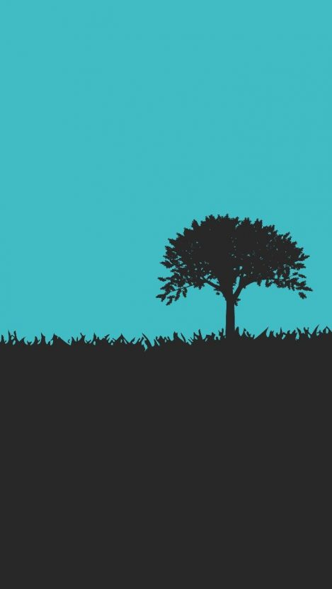 Minimal Tree Grass iPhone Wallpaper iphoneswallpapers com