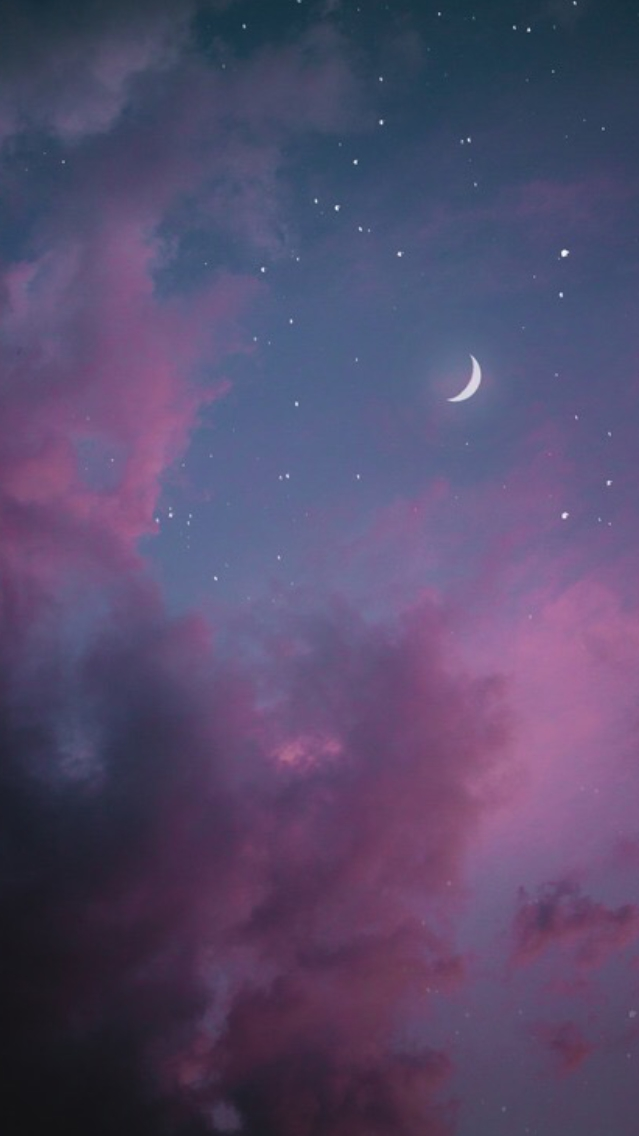 Moon-with-Pink-Clouds-iPhone-Wallpaper