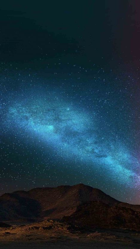 Mountain Blue Sky Night Stars Galaxy View iPhone Wallpaper iphoneswallpapers com