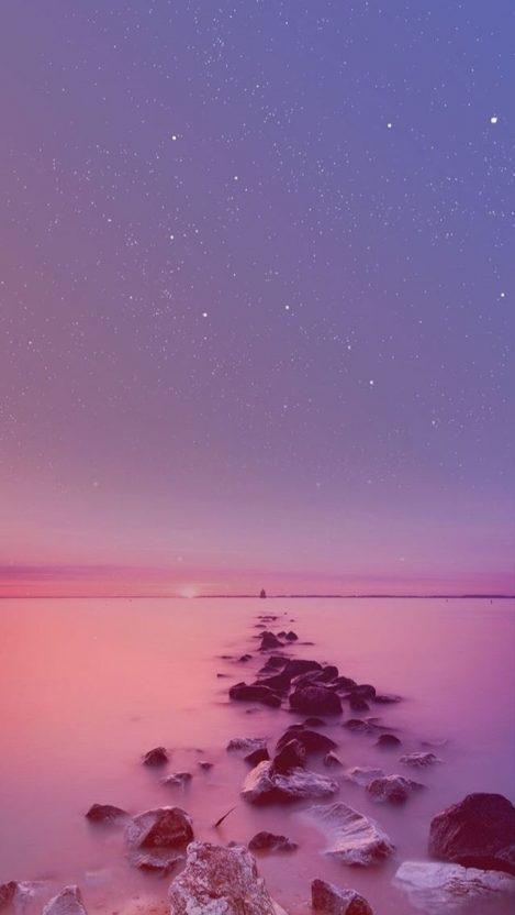 Night Ocean Rocks Stars Sky iPhone Wallpaper iphoneswallpapers com