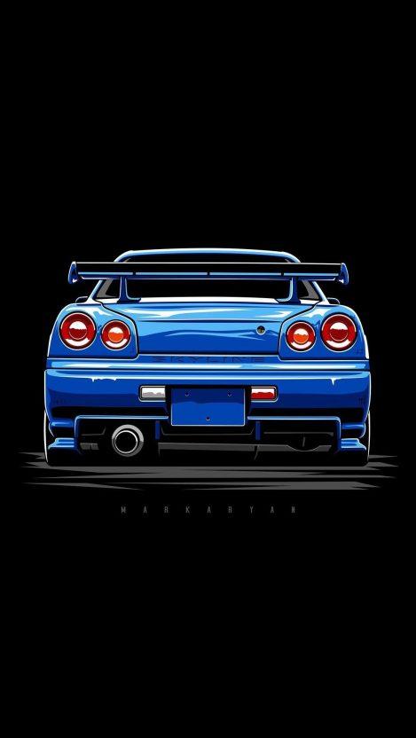 Nissan Skyline Blue iPhone Wallpaper iphoneswallpapers com