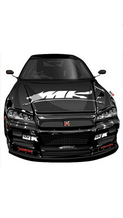 Nissan Skyline GTR Art iPhone Wallpaper iphoneswallpapers com