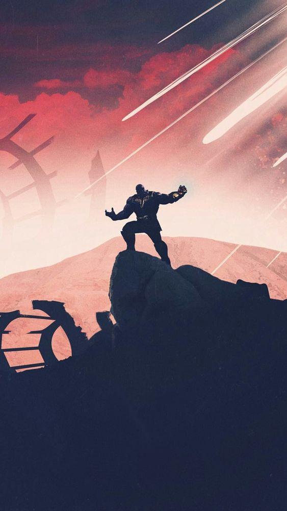 Thanos Pulls Moon on Iron Man Avengers iPhone Wallpaper iphoneswallpapers com