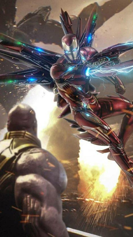 Thanos vs Iron Man Titan Planet iPhone Wallpaper iphoneswallpapers com