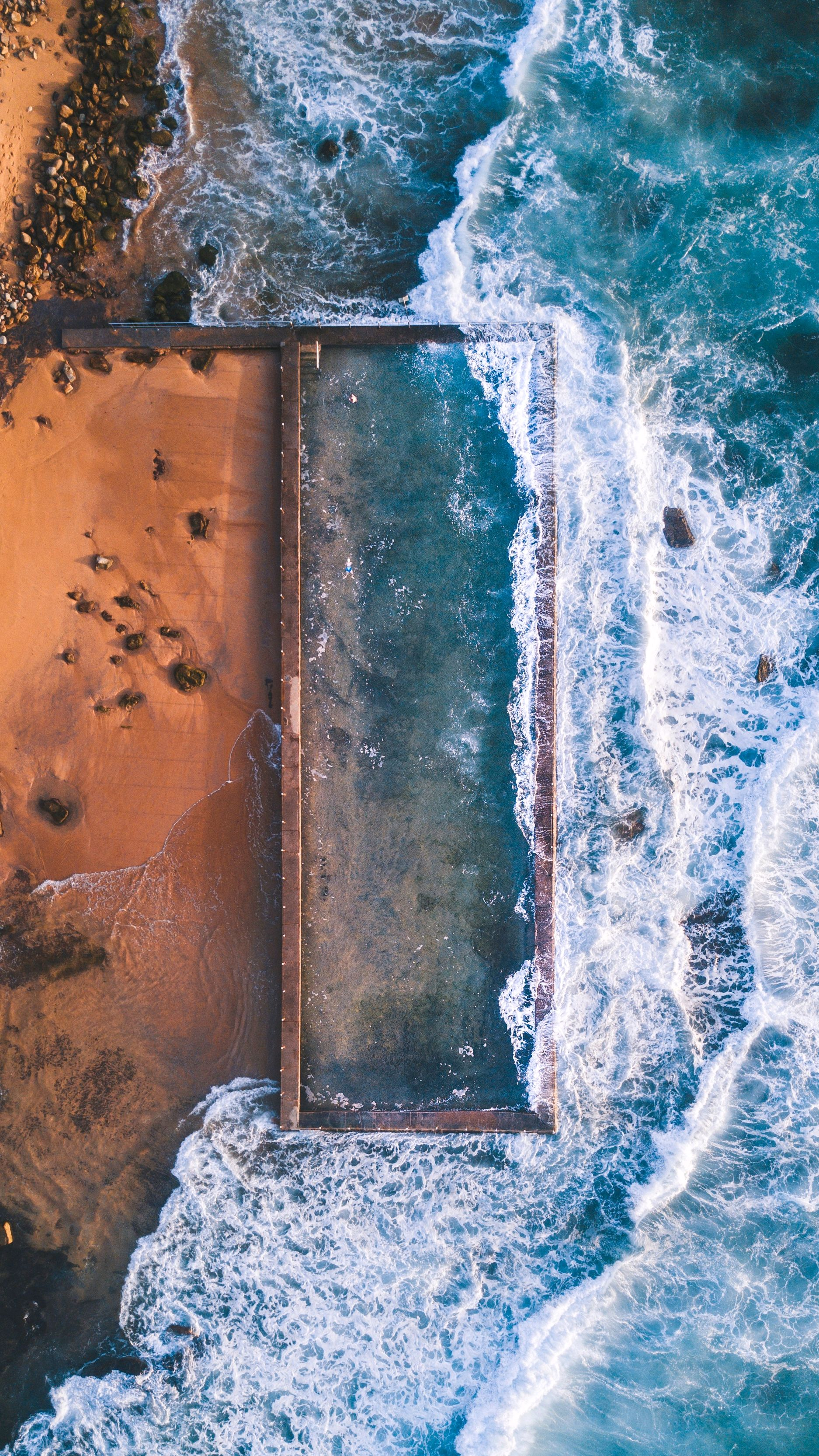 Aerial-View-At-Beach-Rocks-Ocean-iPhone-Wallpaper - iPhone ...