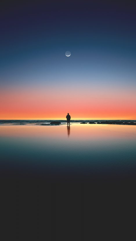 Alone Man on Beach iPhone Wallpaper iphoneswallpapers com