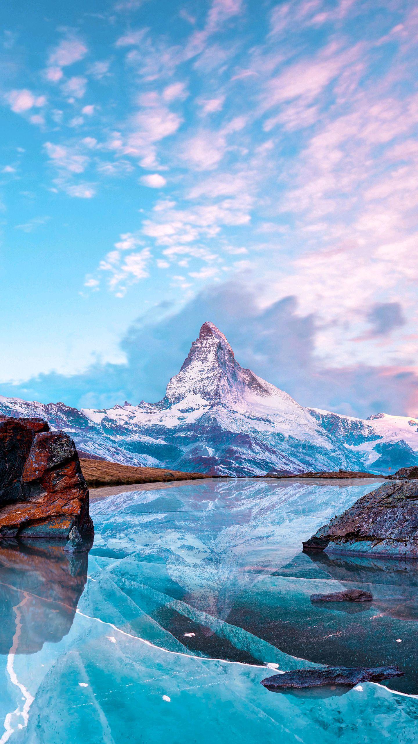 Alps Mountain Frozen Winters Sky iPhone Wallpaper