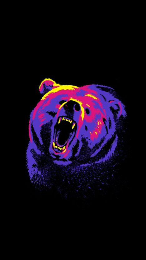 Angry Grizzly bear iPhone Wallpaper
