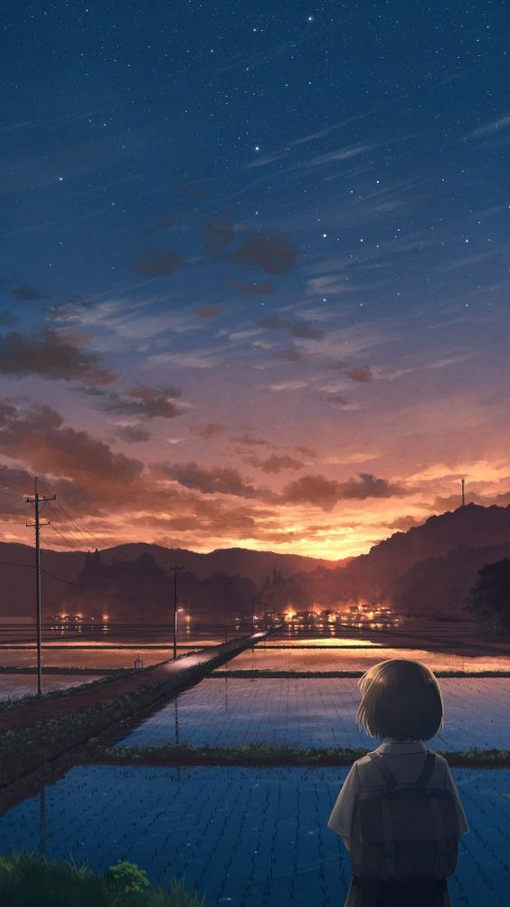 Anime World Artistic Night Stars iPhone Wallpaper iphoneswallpapers com