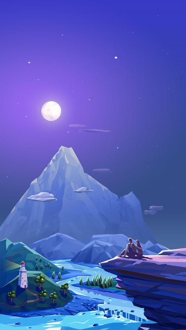 Artistic Moon Love Couple iPhone Wallpaper iphoneswallpapers com