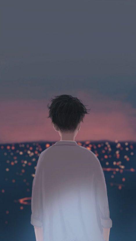Boy in City Anime iPhone Wallpaper iphoneswallpapers com