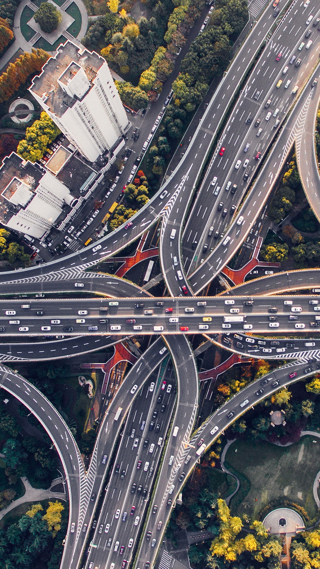 City road hightway cars skyview earthview nature iPhone Wallpaper