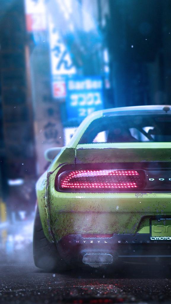 Dodge Challenger Exhaust iPhone Wallpaper