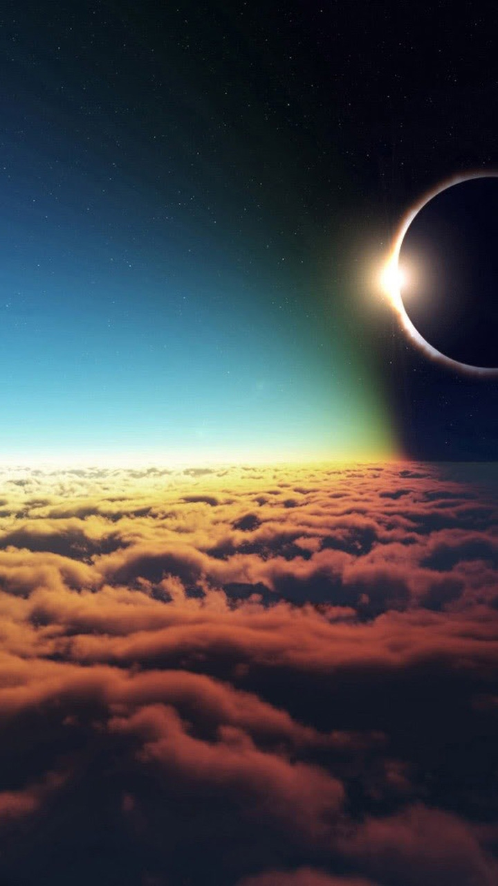 Eclipse From Space iPhone Wallpaper iphoneswallpapers com