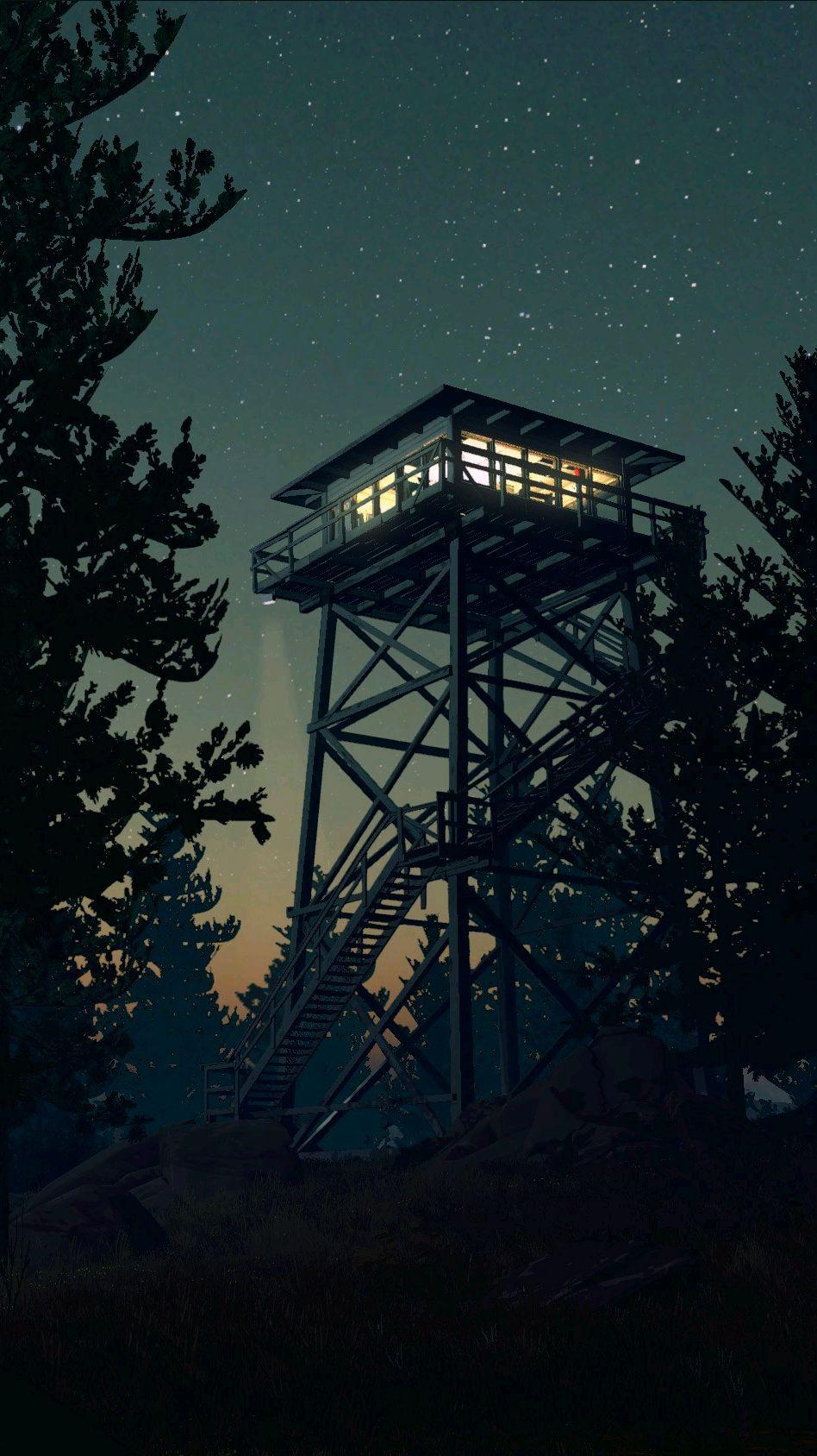 Firewatch Game Minimal Tower Night iPhone Wallpaper iphoneswallpapers com