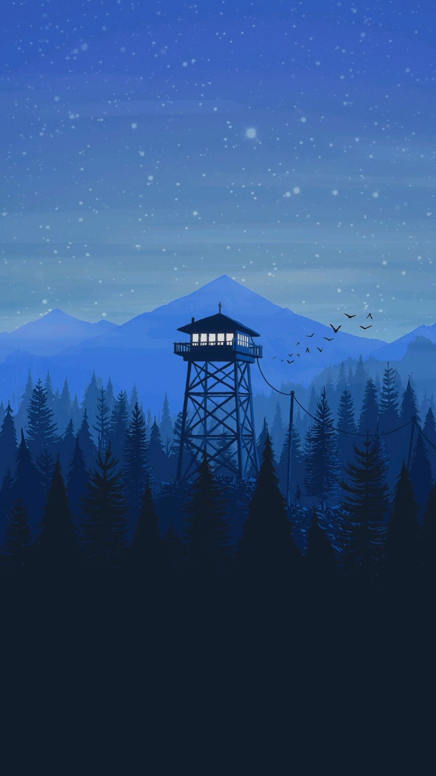 Firewatch Minimal Tower Night iPhone Wallpaper iphoneswallpapers com