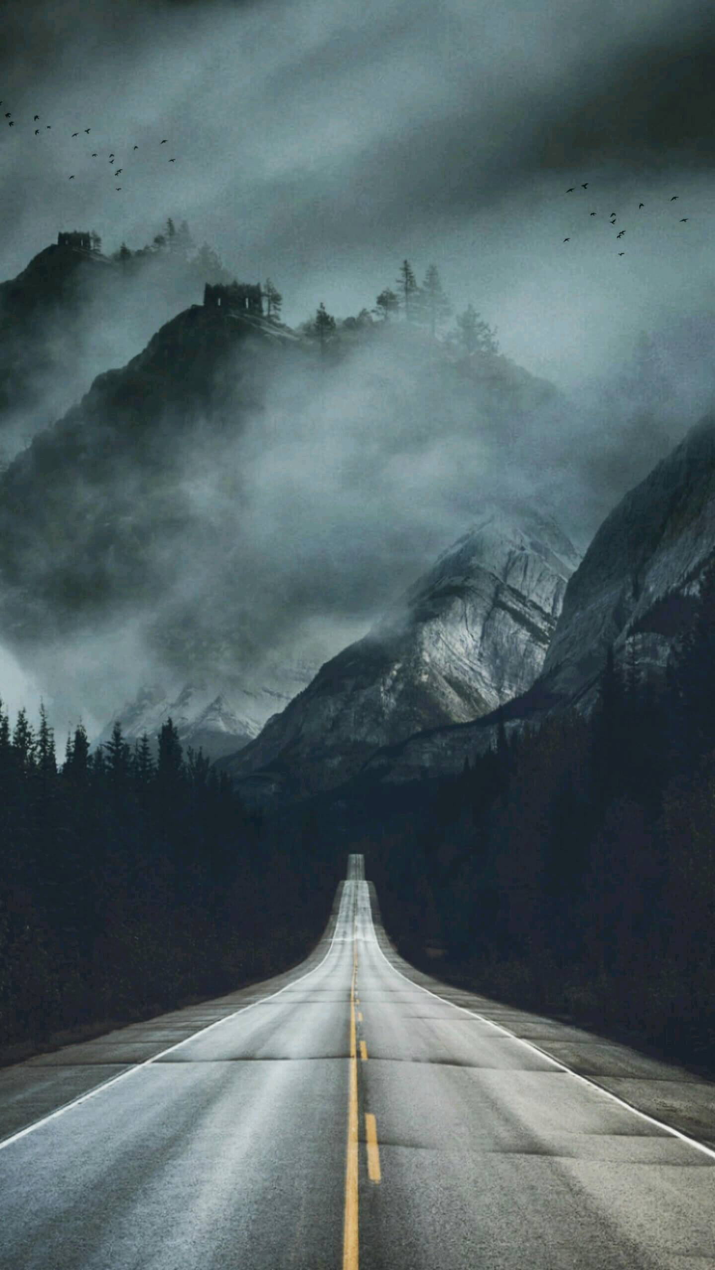 Fog Road Mountains Mist Nature iPhone Wallpaper