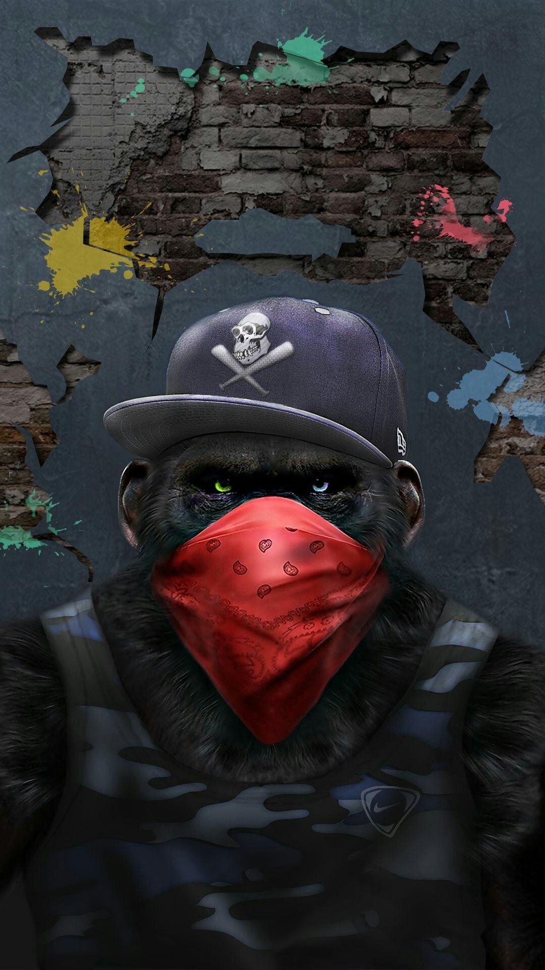Gangster Monkey iPhone Wallpaper iphoneswallpapers com