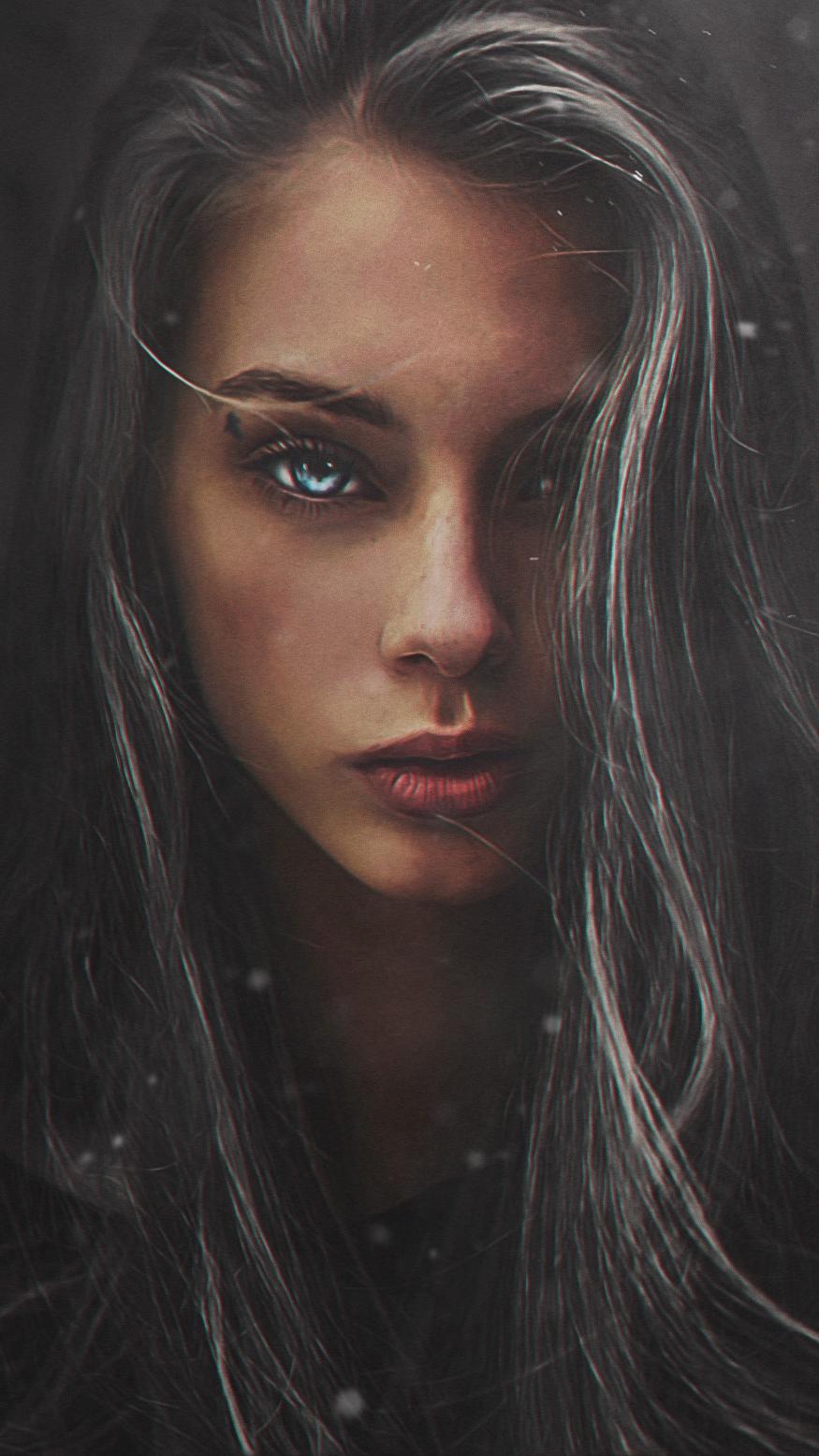 Girl Portrait Art Blue Eyes iPhone Wallpaper iphoneswallpapers com