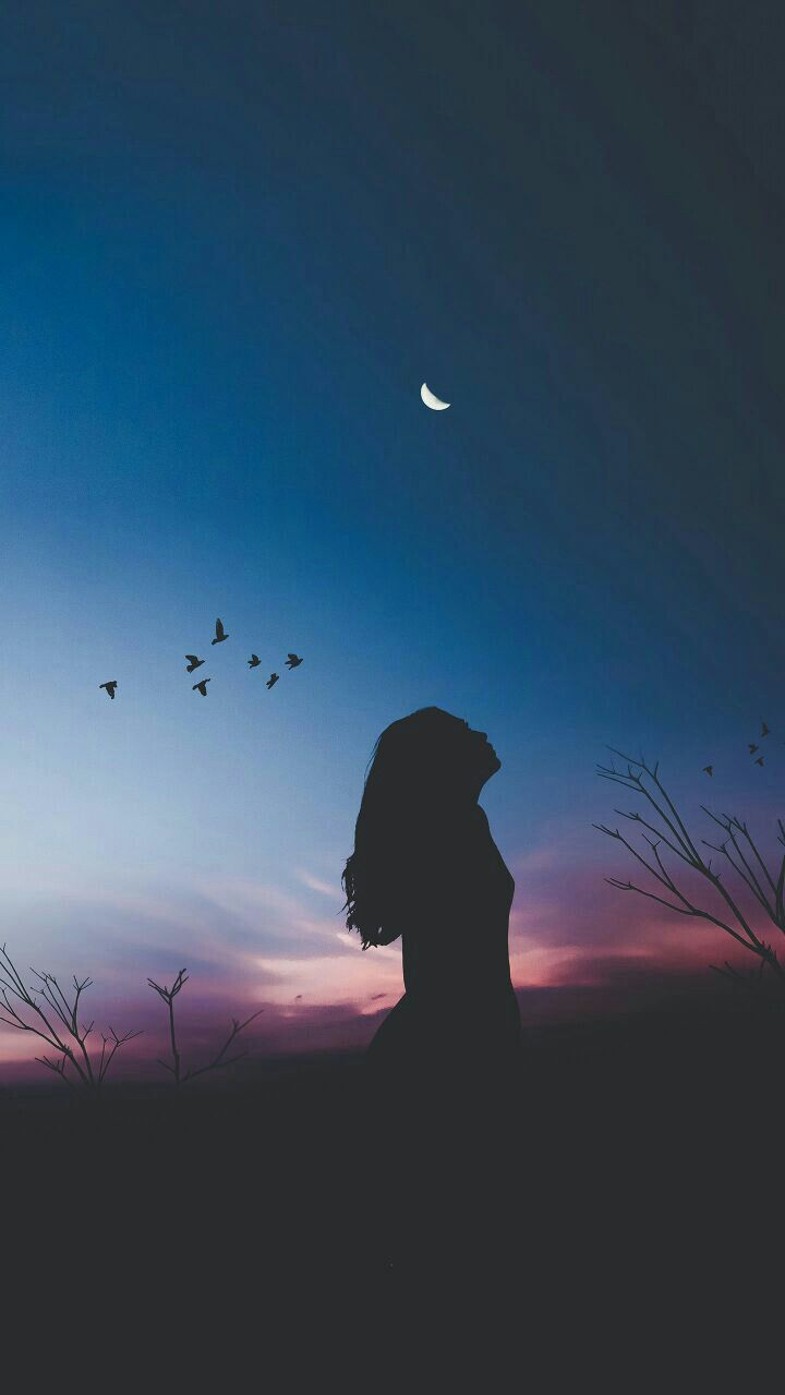 Girl Sunset Half Moon iPhone Wallpaper iphoneswallpapers com