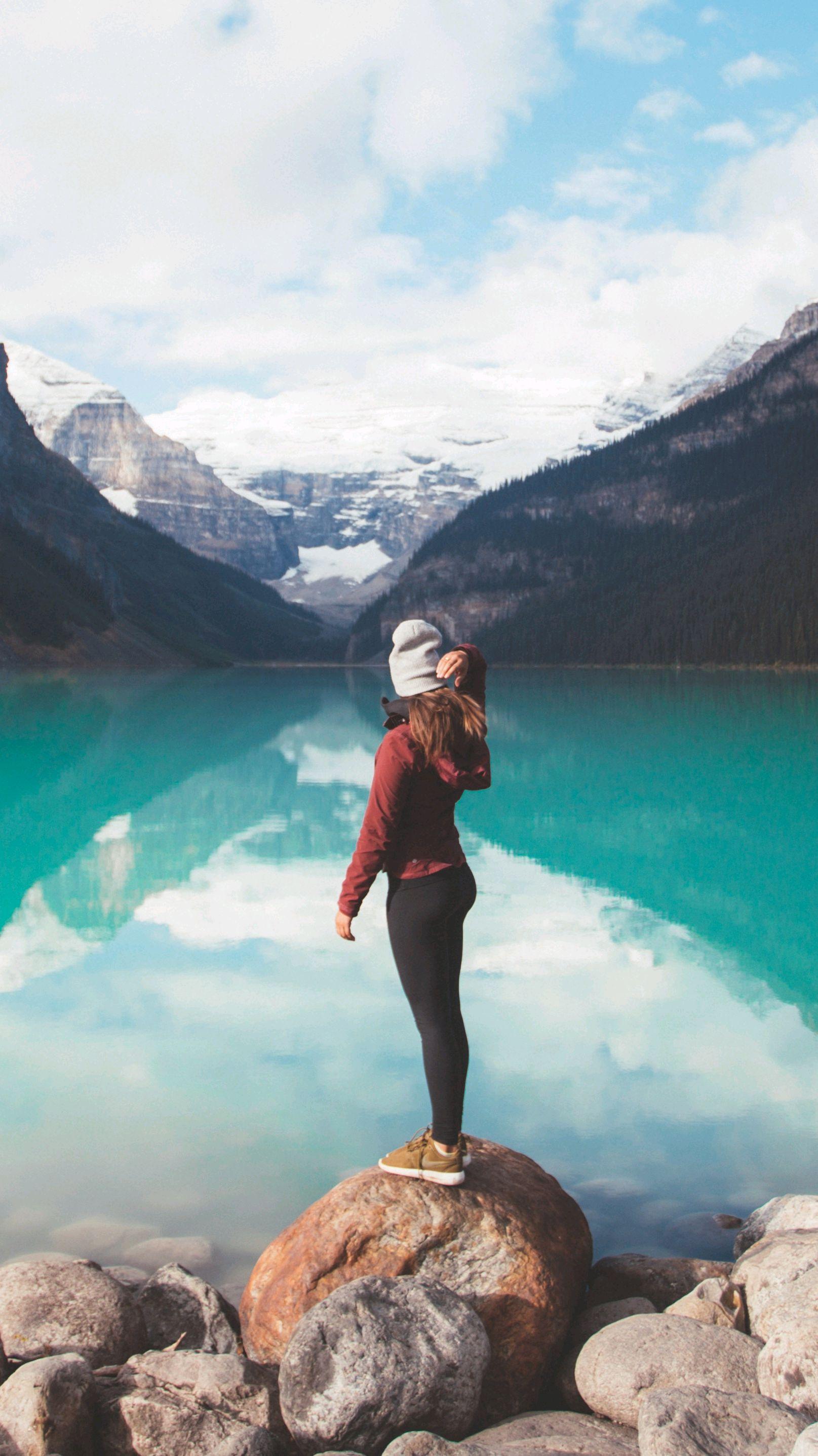 Girl at Deep Blue Lake Alberta Canada iPhone Wallpaper iphoneswallpapers com
