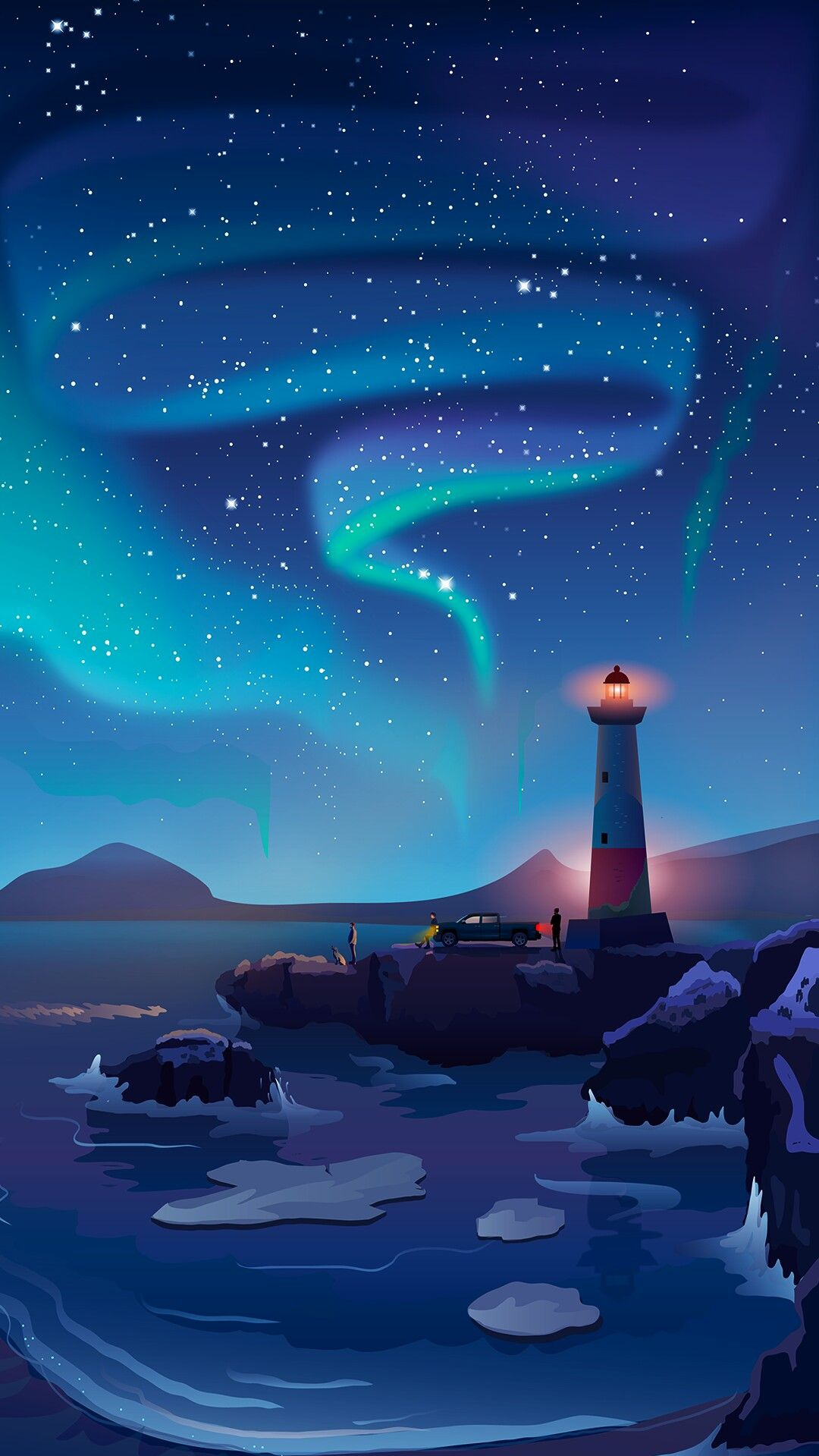 Light House Artistic Beach Night Sky iPhone Wallpaper iphoneswallpapers com