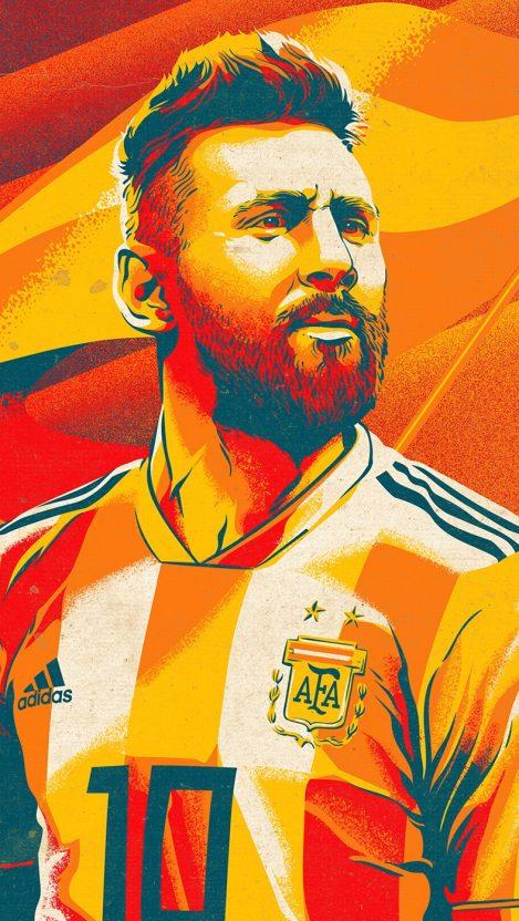 Lionel Messi Art Poster iPhone Wallpaper iphoneswallpapers com