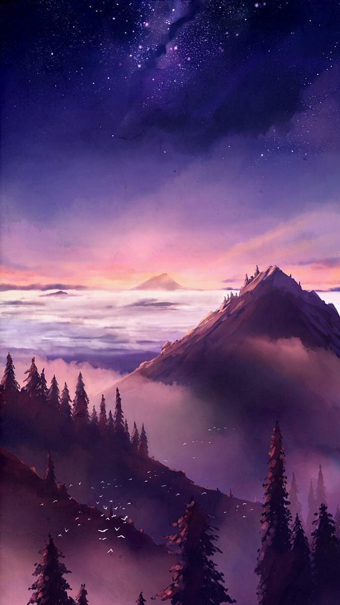 Nature Mountains Art Sky Stars iPhone Wallpaper iphoneswallpapers com