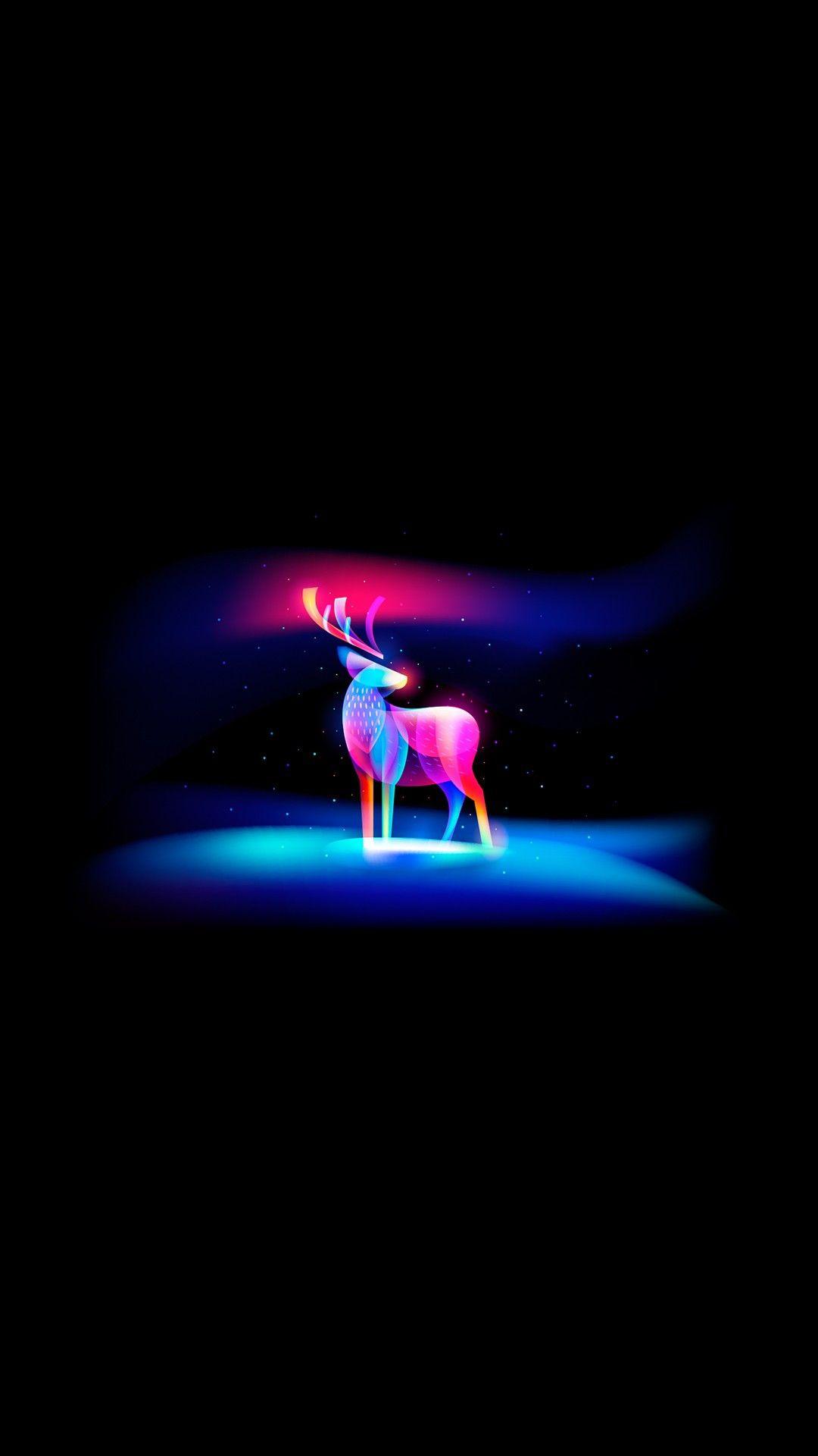Neon Art Deer iPhone Wallpaper iphoneswallpapers com