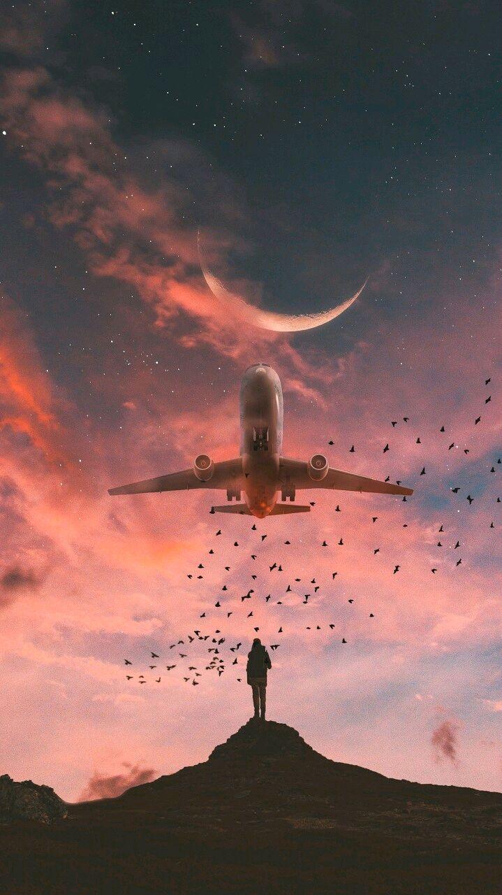 Plane in Sky Artwork iPhone Wallpaper iphoneswallpapers com