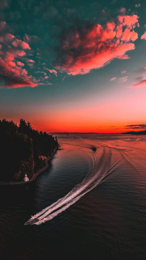 Sunset Scenery Island Surfing In Water IPhone Wallpaper