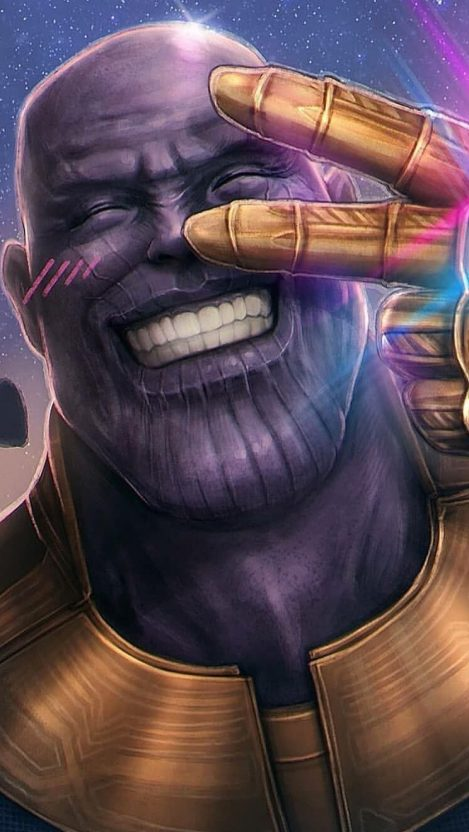 Thanos Face Happy Smiling Peace iPhone Wallpaper iphoneswallpapers com
