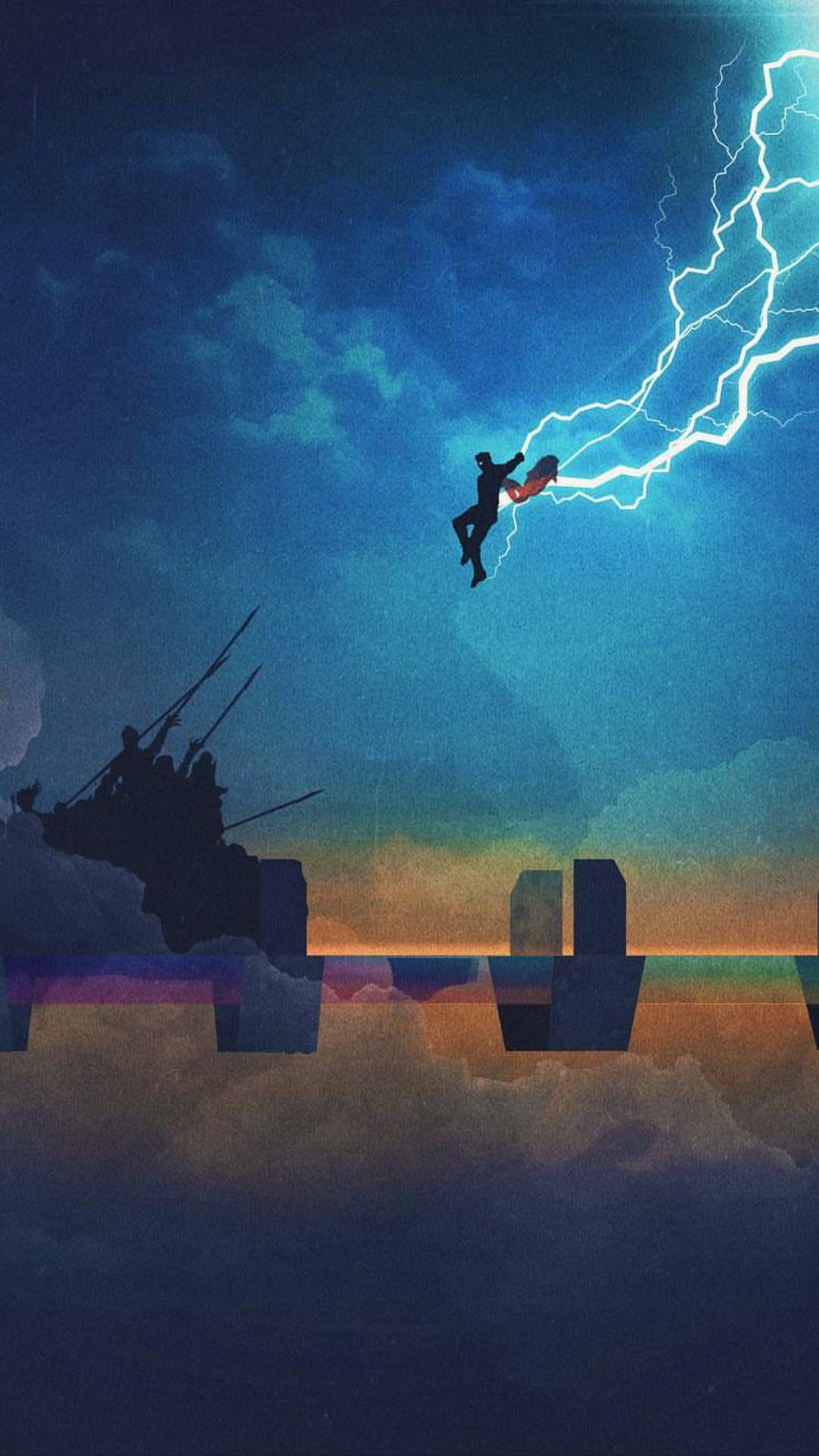 thor stormbreaker attack iphone wallpaper iphoneswallpapers com