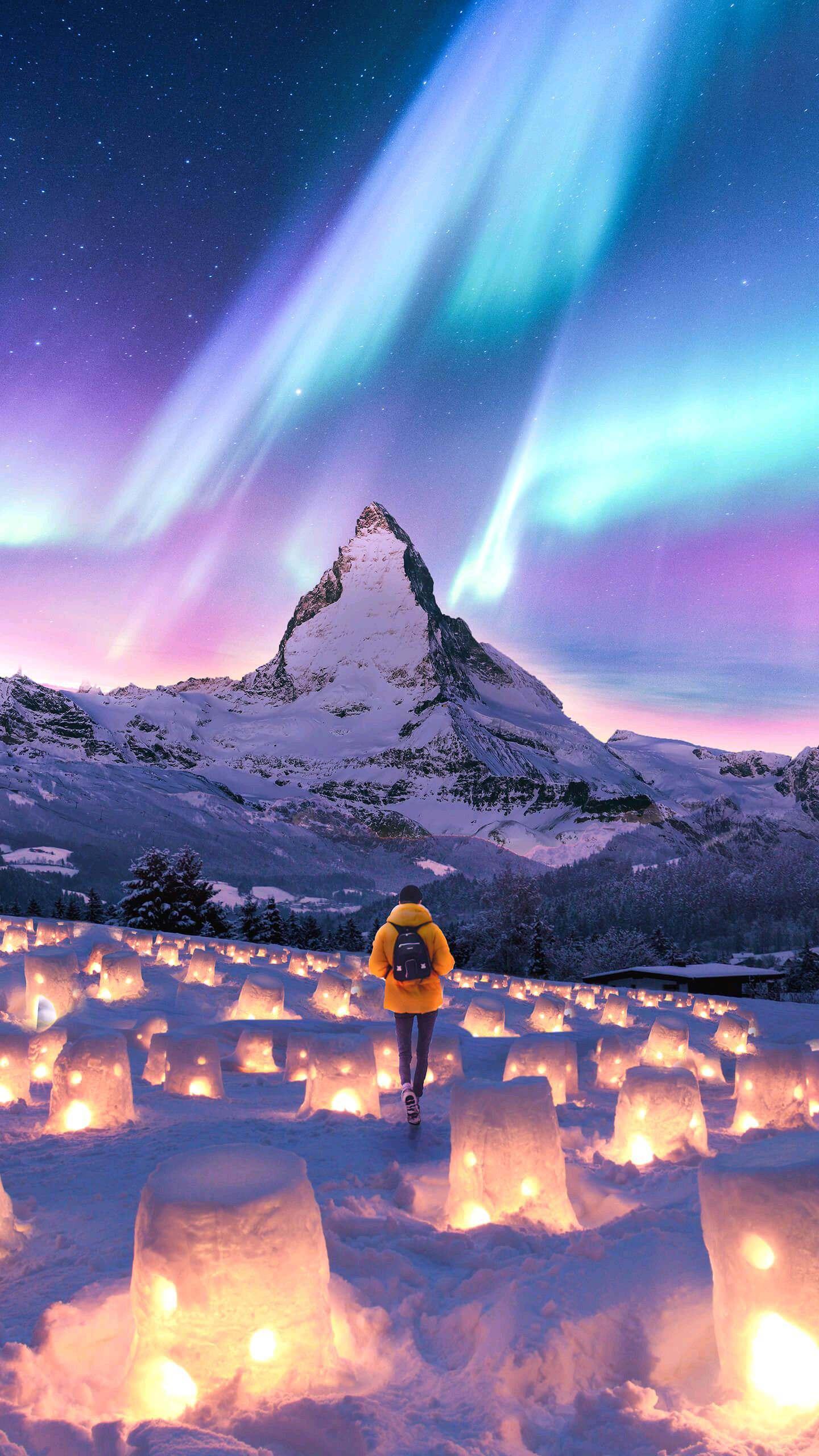 Alps Mountain Switzerland Valley of snow lanterns iPhone Wallpaper