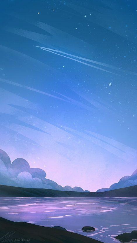 Animated Art Lake Nature IPhone Wallpaper
